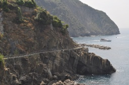 The Cinque Terre trail hugging the cliffs