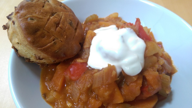 Vegetarian Goulash with sour cream and pogácsa scone