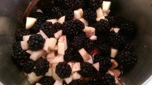 Blackberries, apples and lemon juice