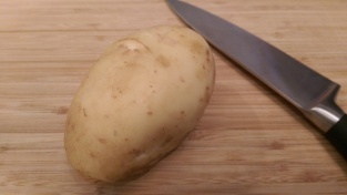 Potato ready to be cut