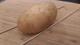 Wooden skewers set along potato